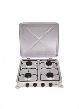 4-burner Gas Hotplate with Lid- Silver Enamel 26/004A